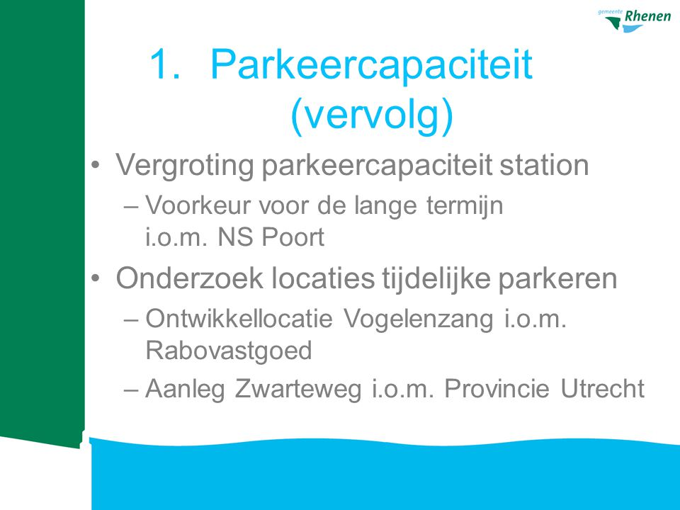 Parkeercapaciteit (vervolg)