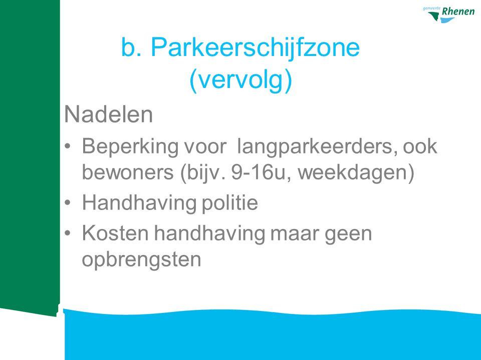 b. Parkeerschijfzone (vervolg)