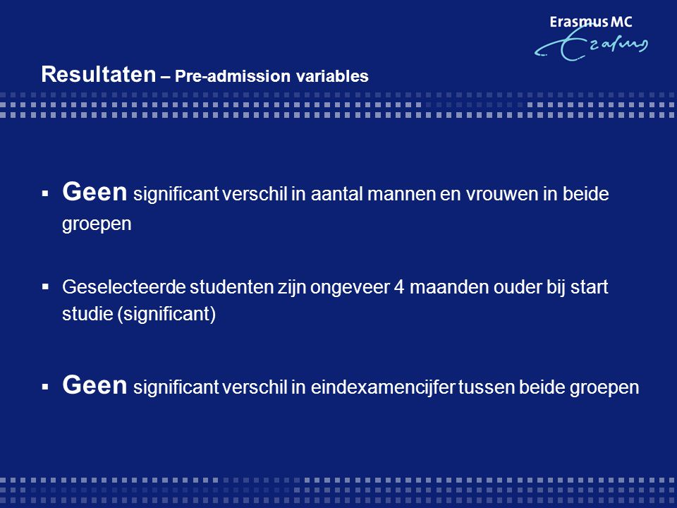 Resultaten – Pre-admission variables