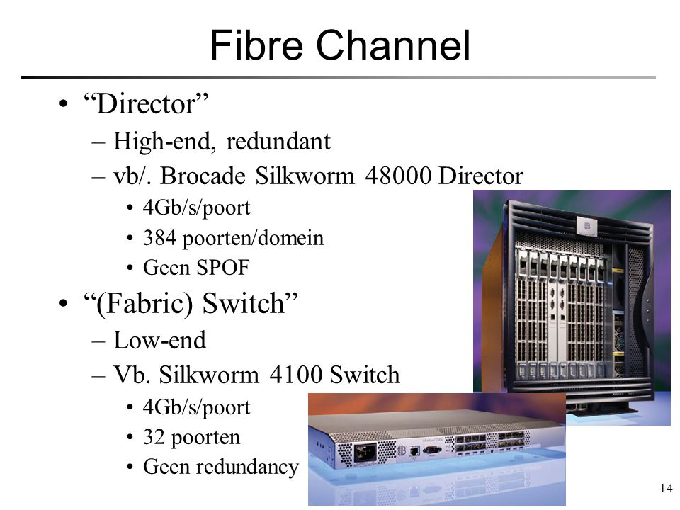 Fibre Channel Director (Fabric) Switch High-end, redundant