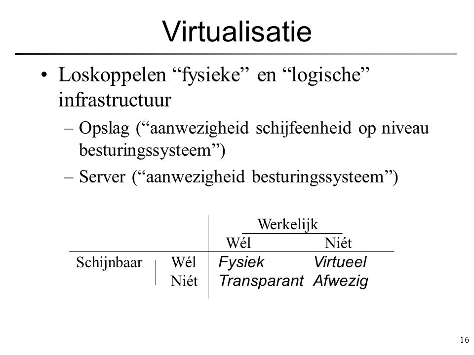 Virtualisatie Loskoppelen fysieke en logische infrastructuur