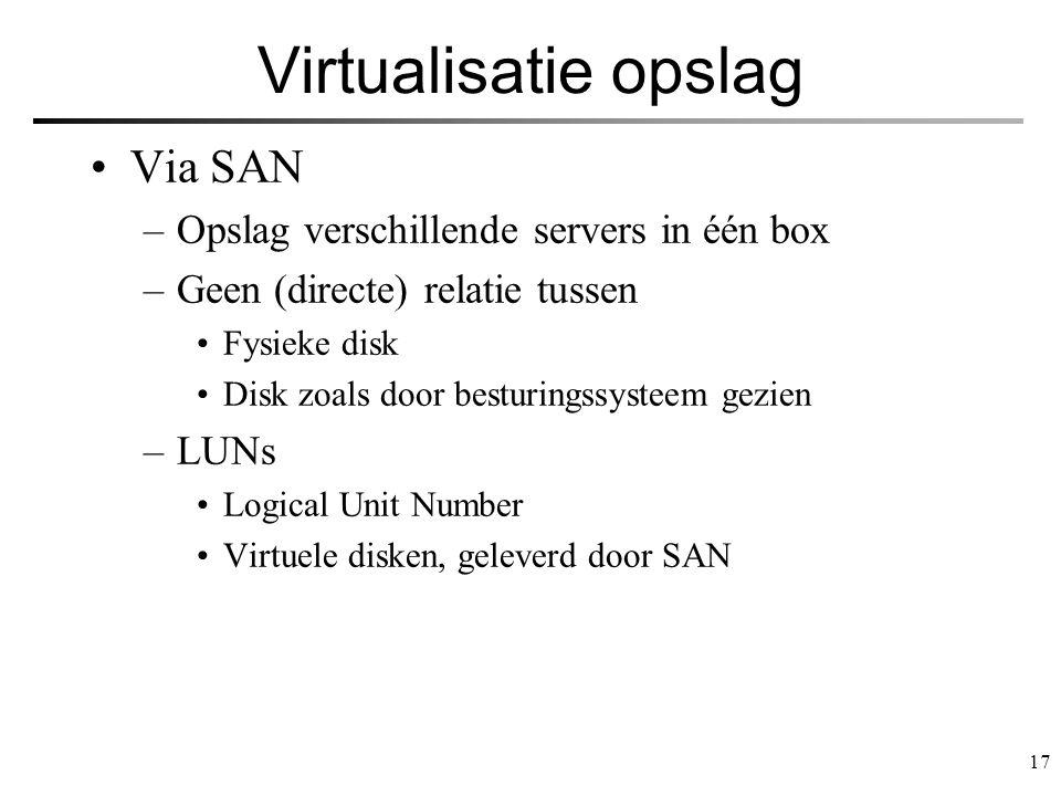 Virtualisatie opslag Via SAN Opslag verschillende servers in één box
