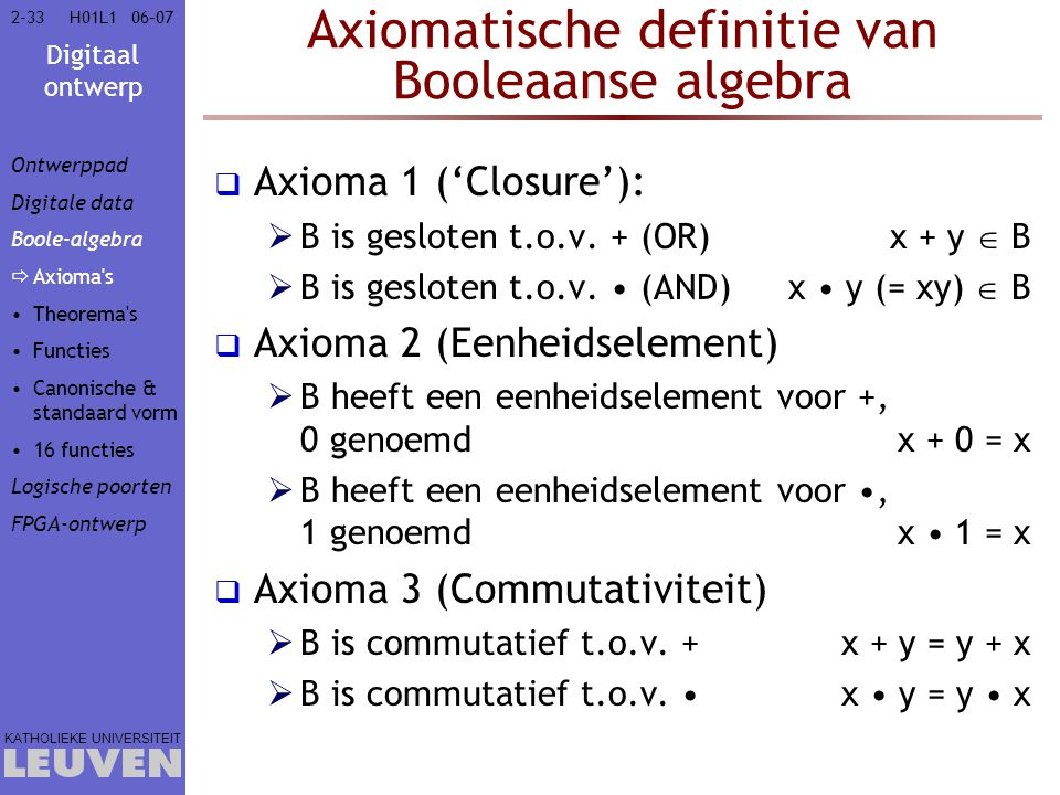 Axiomatische definitie van Booleaanse algebra