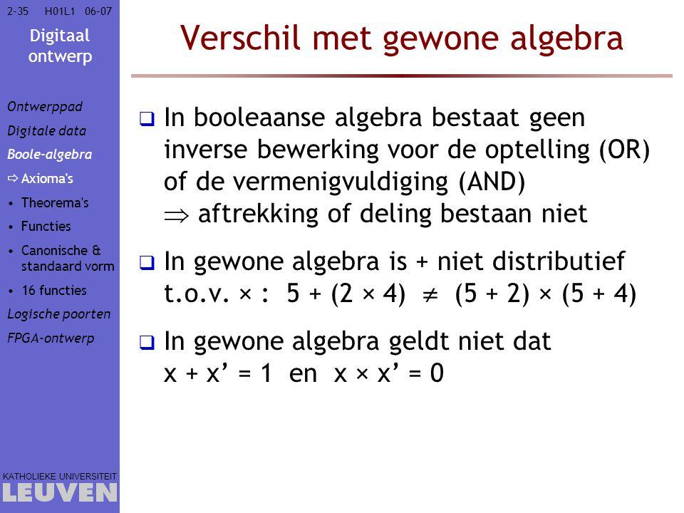 Verschil met gewone algebra