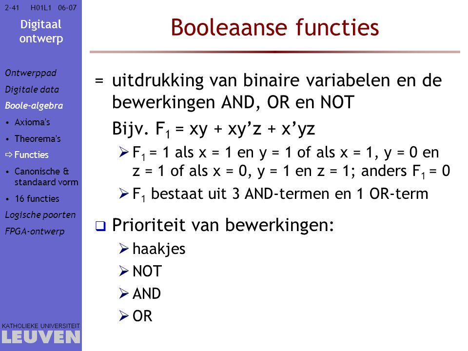 Vak - hoofdstuk Booleaanse functies. Ontwerppad. Digitale data. Boole-algebra. Axioma s. Theorema s.