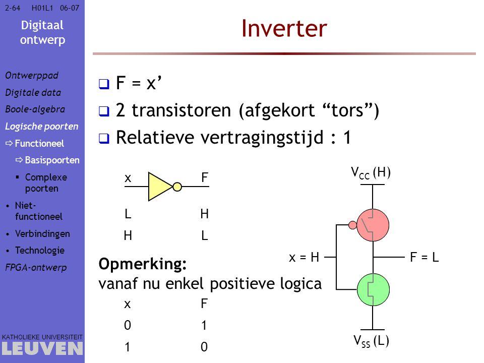 Inverter F = x' 2 transistoren (afgekort tors )