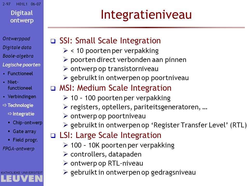 Integratieniveau SSI: Small Scale Integration