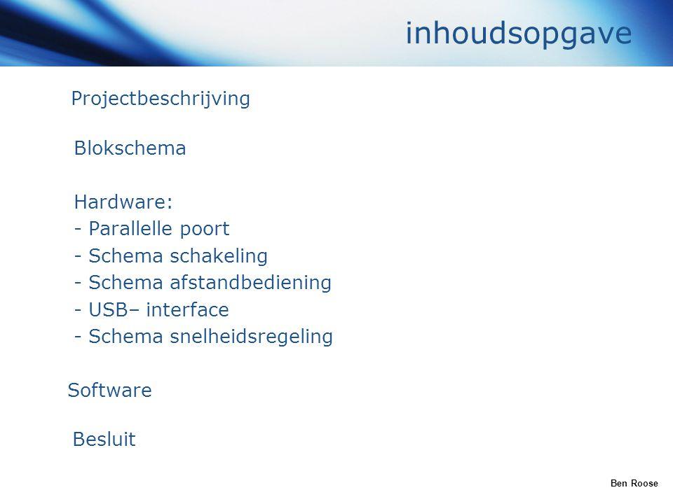 inhoudsopgave Projectbeschrijving Blokschema Hardware:
