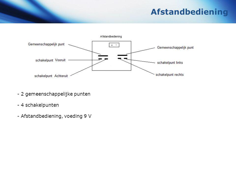 Afstandbediening - 2 gemeenschappelijke punten - 4 schakelpunten - Afstandbediening, voeding 9 V