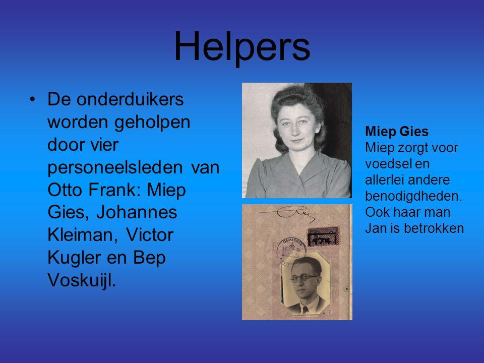 Helpers De onderduikers worden geholpen door vier personeelsleden van Otto Frank: Miep Gies, Johannes Kleiman, Victor Kugler en Bep Voskuijl.