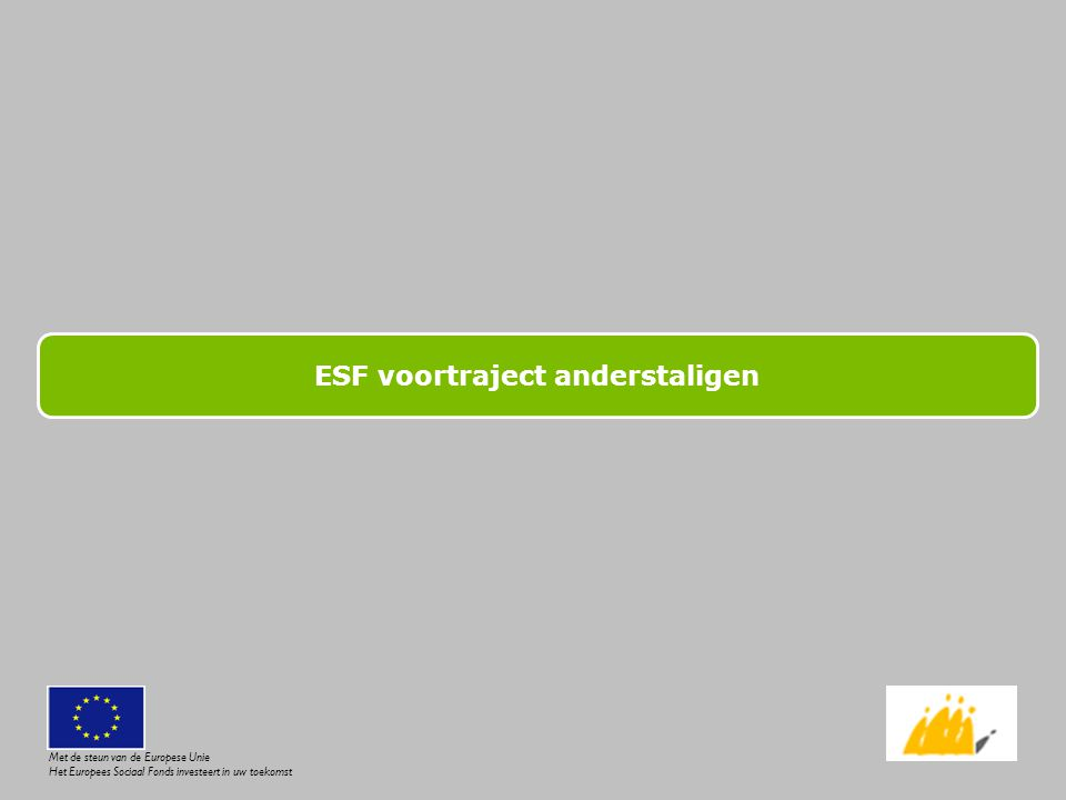 ESF voortraject anderstaligen
