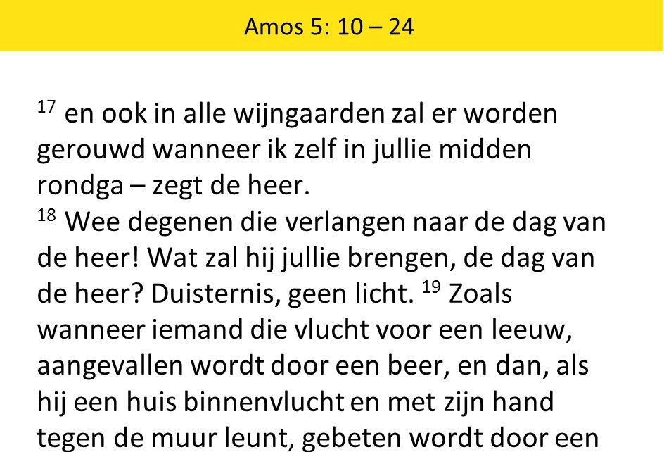 Amos 5: 10 – 24 17 en ook in alle wijngaarden zal er worden gerouwd wanneer ik zelf in jullie midden rondga – zegt de heer.
