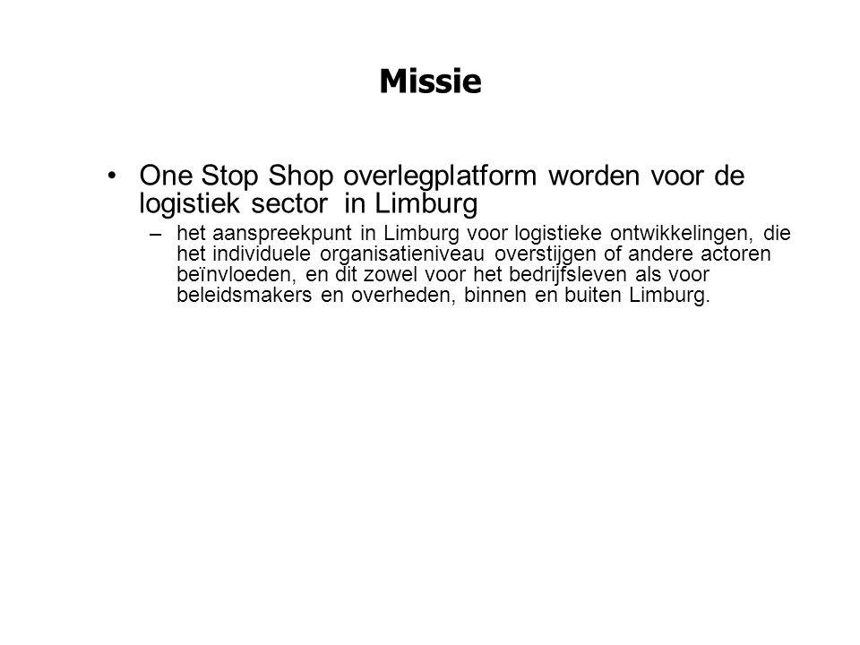 Missie One Stop Shop overlegplatform worden voor de logistiek sector in Limburg.