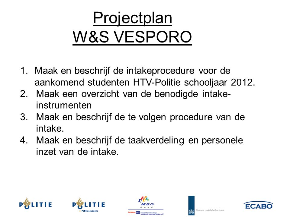 Projectplan W&S VESPORO