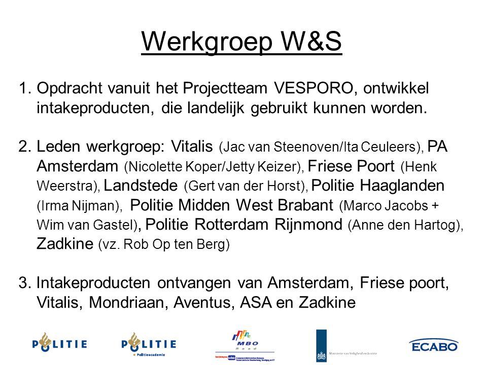 Werkgroep W&S Opdracht vanuit het Projectteam VESPORO, ontwikkel intakeproducten, die landelijk gebruikt kunnen worden.