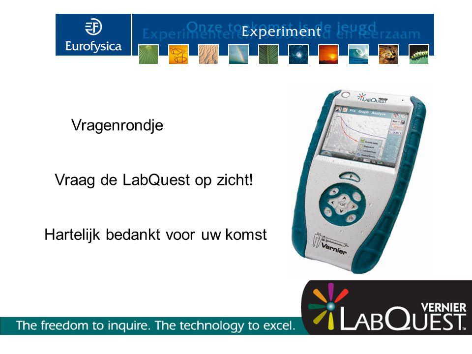 Vragenrondje Vraag de LabQuest op zicht! Hartelijk bedankt voor uw komst