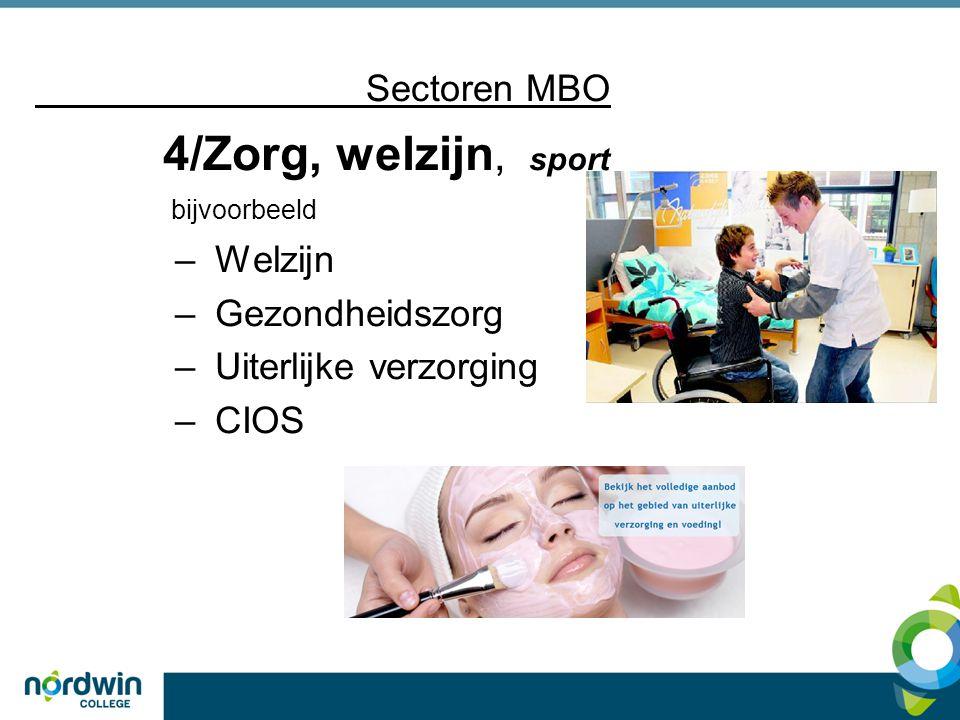 4/Zorg, welzijn, sport Sectoren MBO Welzijn Gezondheidszorg