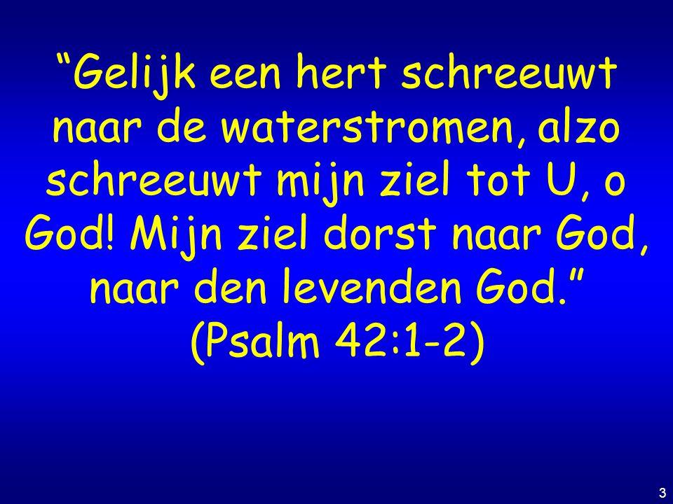 Gelijk een hert schreeuwt naar de waterstromen, alzo schreeuwt mijn ziel tot U, o God! Mijn ziel dorst naar God, naar den levenden God.