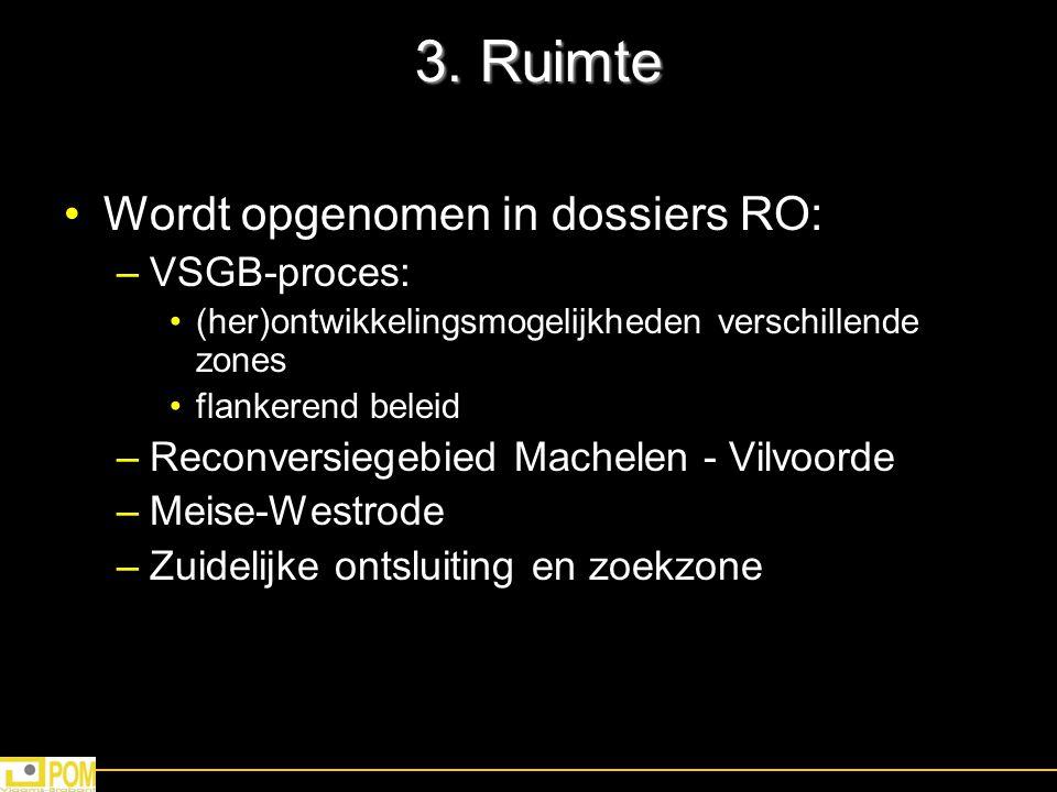3. Ruimte Wordt opgenomen in dossiers RO: VSGB-proces: