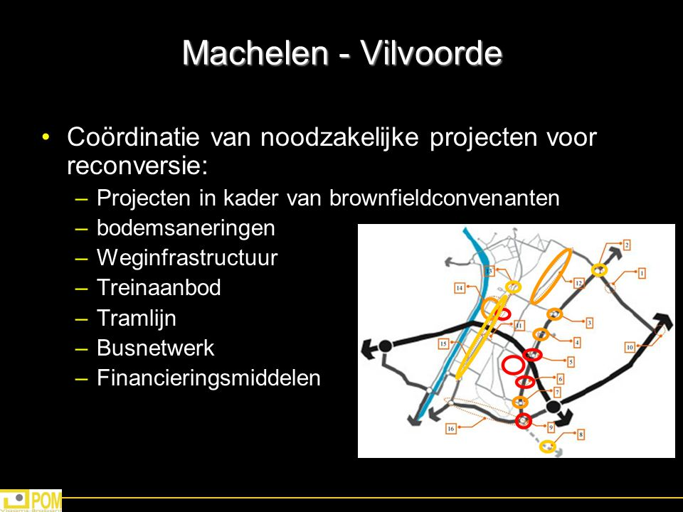 Machelen - Vilvoorde Coördinatie van noodzakelijke projecten voor reconversie: Projecten in kader van brownfieldconvenanten.