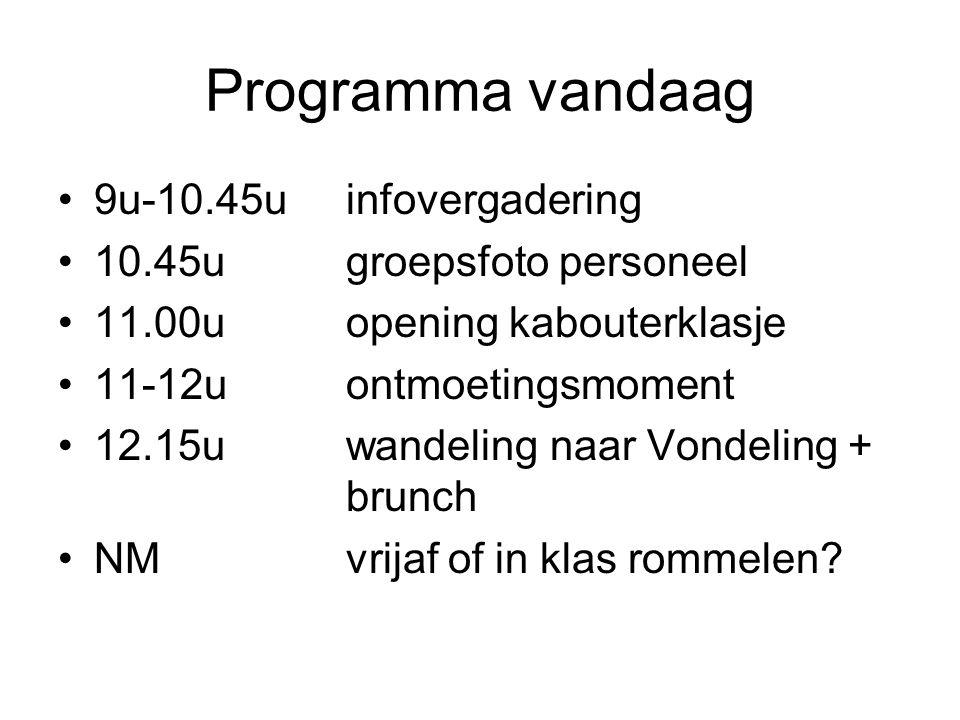 Programma vandaag 9u-10.45u infovergadering