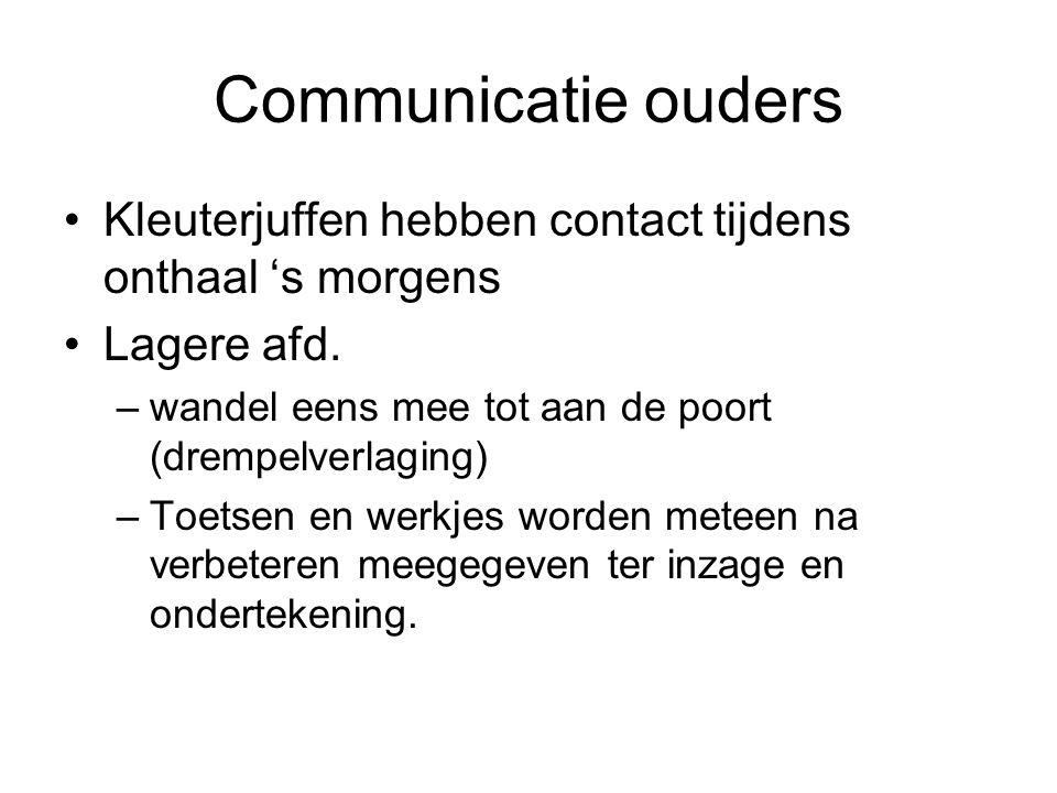 Communicatie ouders Kleuterjuffen hebben contact tijdens onthaal 's morgens. Lagere afd. wandel eens mee tot aan de poort (drempelverlaging)