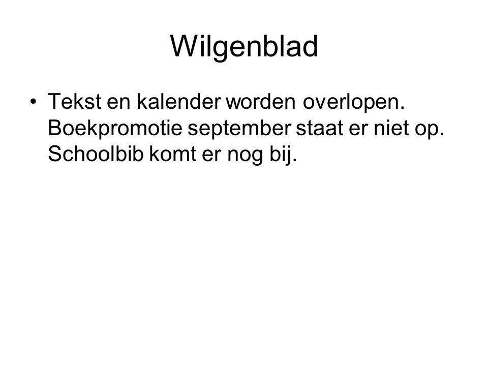 Wilgenblad Tekst en kalender worden overlopen. Boekpromotie september staat er niet op.