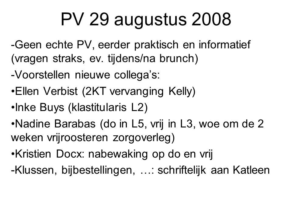 PV 29 augustus 2008 -Geen echte PV, eerder praktisch en informatief (vragen straks, ev. tijdens/na brunch)