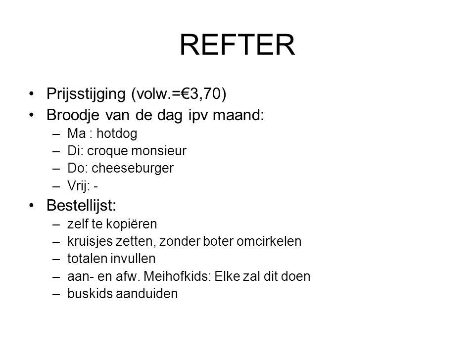 REFTER Prijsstijging (volw.=€3,70) Broodje van de dag ipv maand: