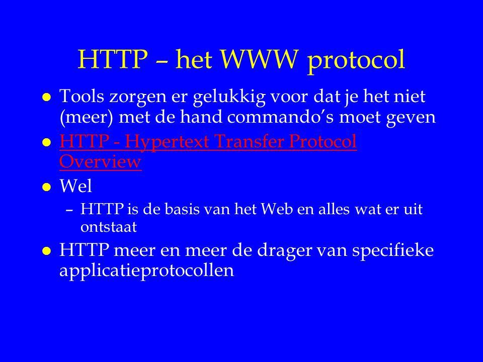HTTP – het WWW protocol Tools zorgen er gelukkig voor dat je het niet (meer) met de hand commando's moet geven.