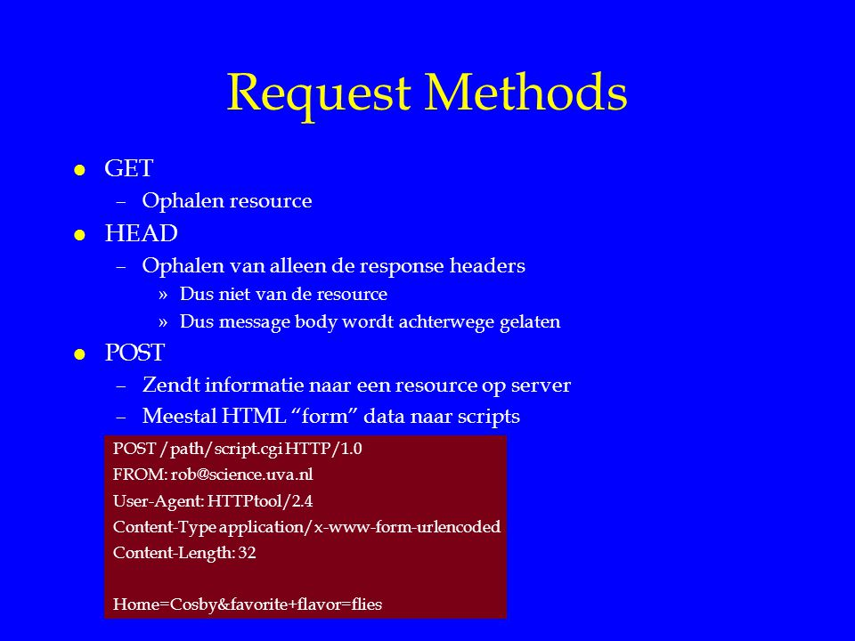 Request Methods GET HEAD POST Ophalen resource