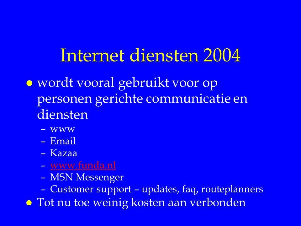Internet diensten 2004 wordt vooral gebruikt voor op personen gerichte communicatie en diensten. www.
