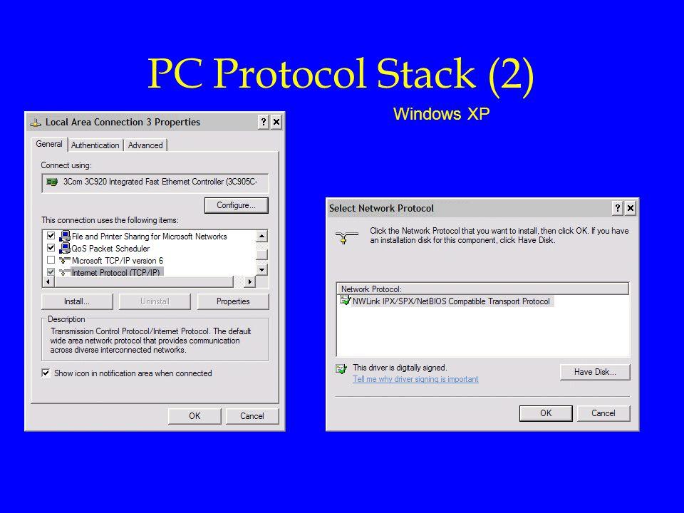 PC Protocol Stack (2) Windows XP