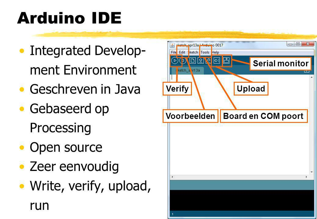 Arduino IDE Integrated Develop- ment Environment Geschreven in Java