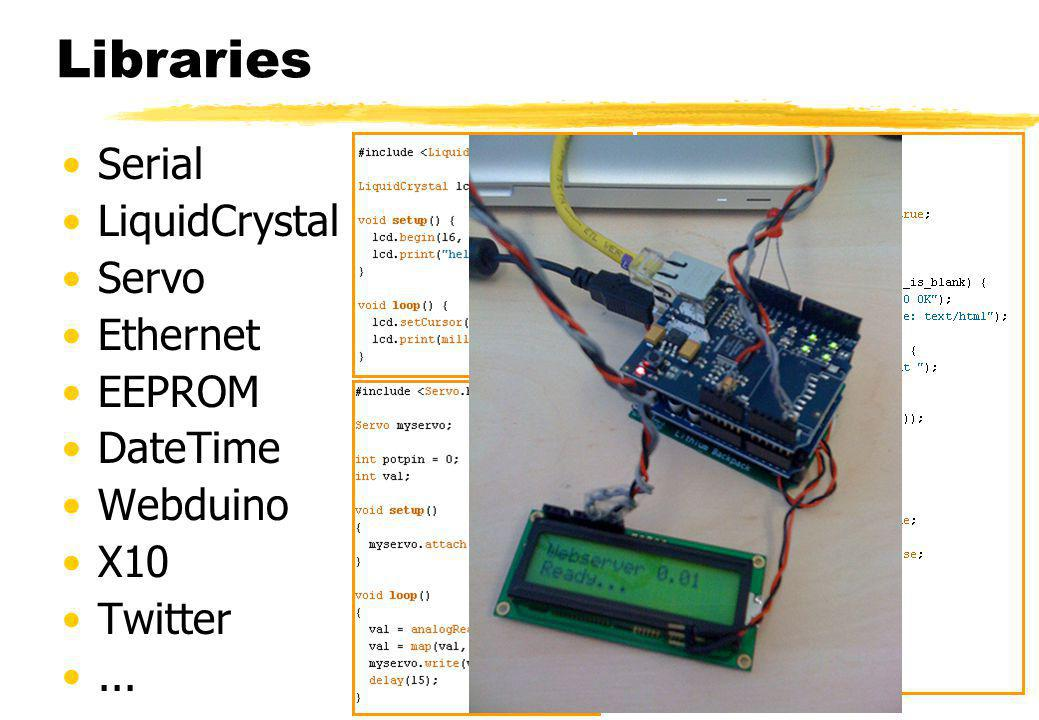 Libraries Serial LiquidCrystal Servo Ethernet EEPROM DateTime Webduino