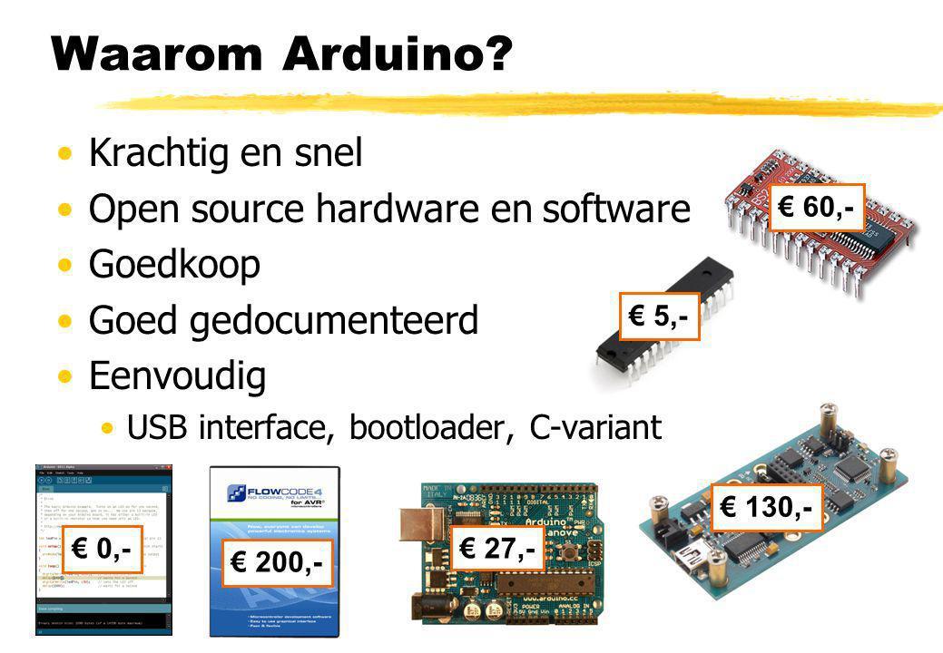 Waarom Arduino Krachtig en snel Open source hardware en software