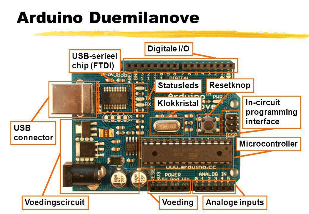 Arduino Duemilanove Digitale I/O USB-serieel chip (FTDI) Statusleds