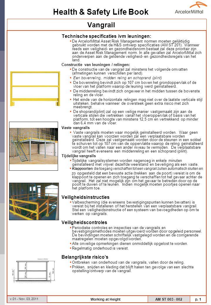 Vangrail Technische specificaties ivm leuningen: