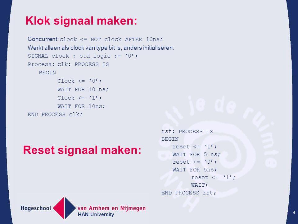Klok signaal maken: Reset signaal maken: