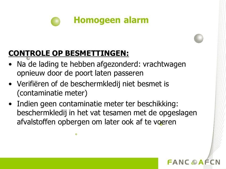 Homogeen alarm CONTROLE OP BESMETTINGEN: