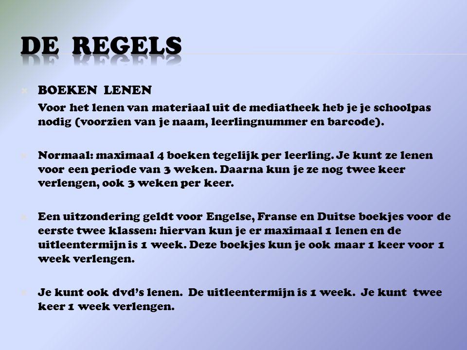 DE REGELS BOEKEN LENEN.
