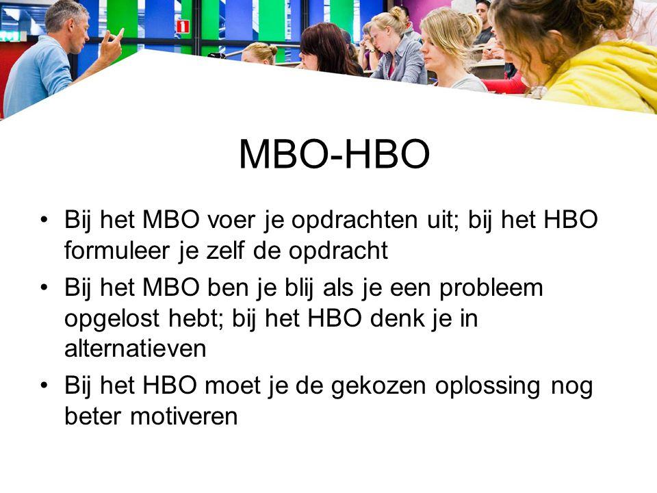MBO-HBO Bij het MBO voer je opdrachten uit; bij het HBO formuleer je zelf de opdracht.