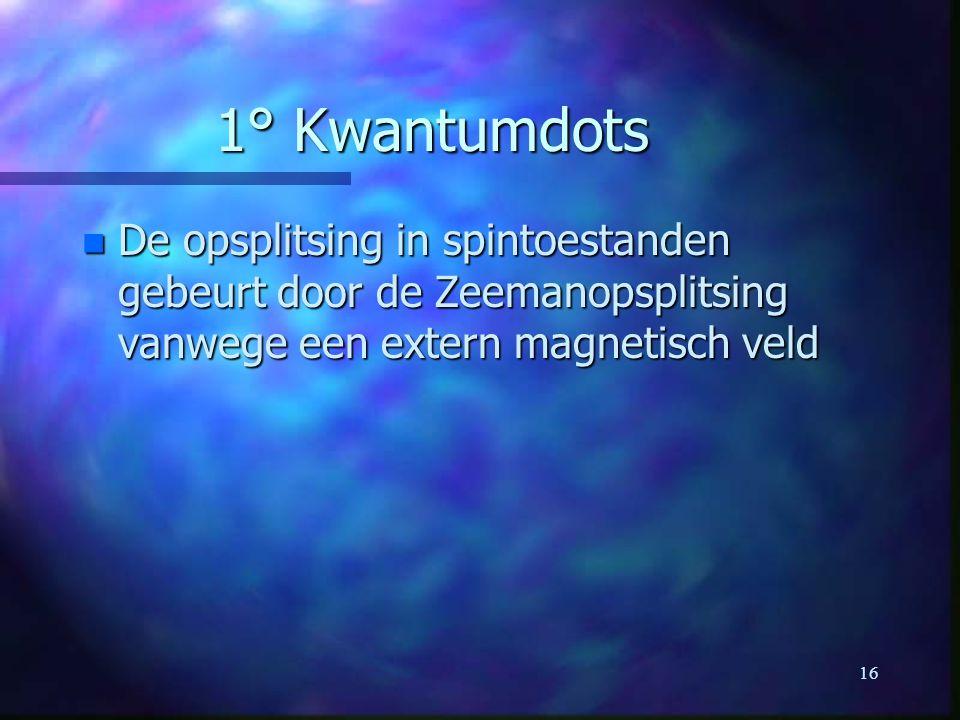 1° Kwantumdots De opsplitsing in spintoestanden gebeurt door de Zeemanopsplitsing vanwege een extern magnetisch veld.