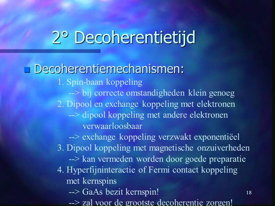 2° Decoherentietijd Decoherentiemechanismen: 1. Spin-baan koppeling