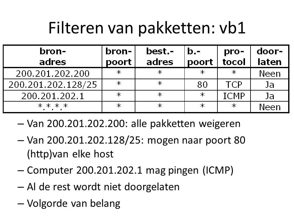 Filteren van pakketten: vb1