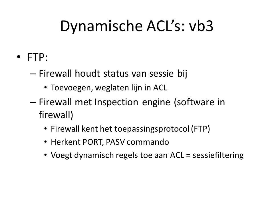 Dynamische ACL's: vb3 FTP: Firewall houdt status van sessie bij