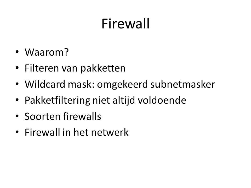 Firewall Waarom Filteren van pakketten