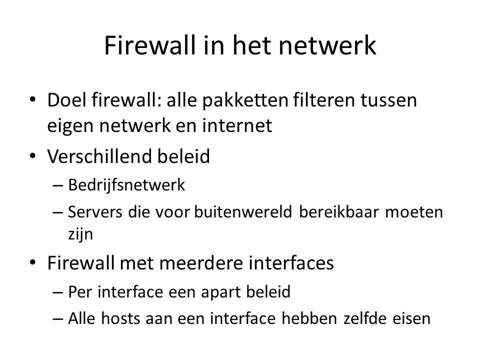 Firewall in het netwerk