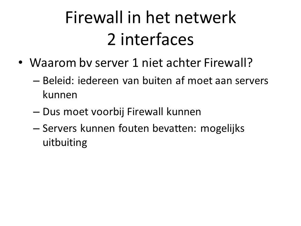 Firewall in het netwerk 2 interfaces