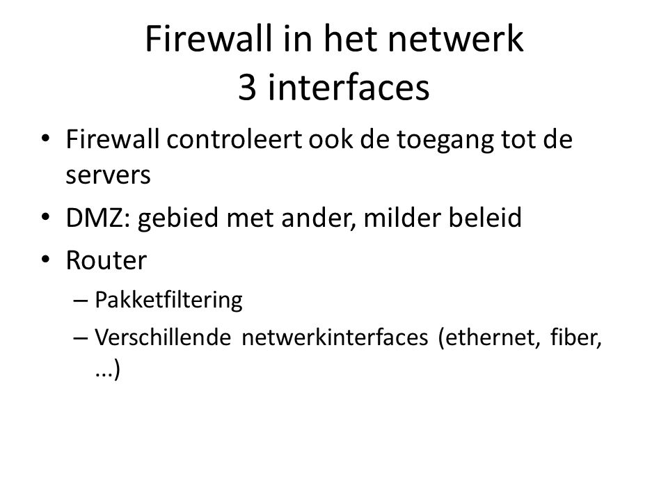Firewall in het netwerk 3 interfaces